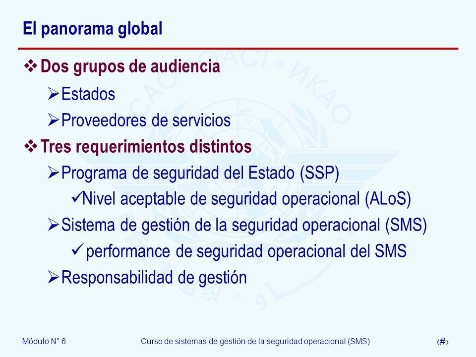 Módulo N° 6Curso de sistemas de gestión de la seguridad operacional (SMS) 5 El panorama global Dos grupos de audiencia Estados Proveedores de servicio