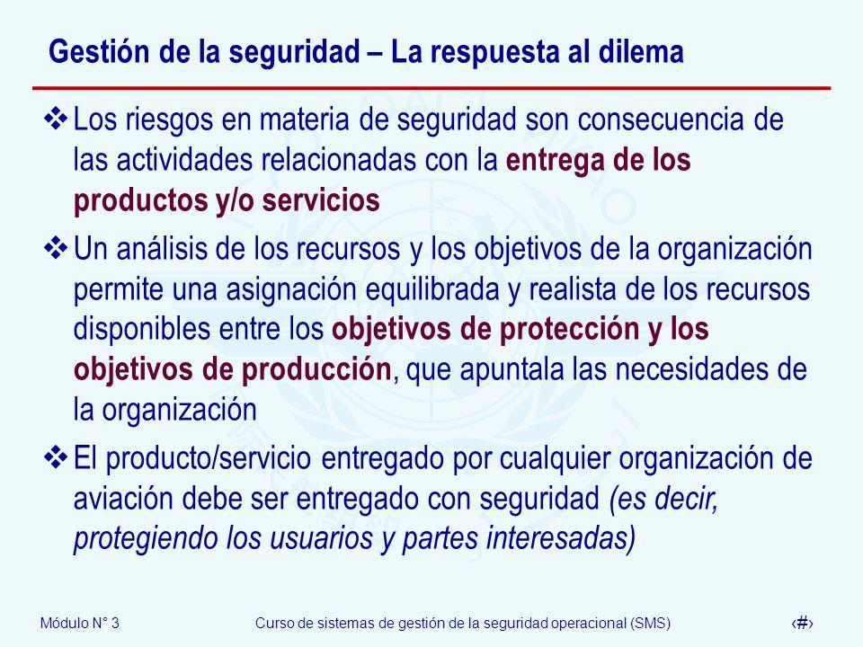 Módulo N° 3Curso de sistemas de gestión de la seguridad operacional (SMS) 14 Gestión de la seguridad – La respuesta al dilema Los riesgos en materia d