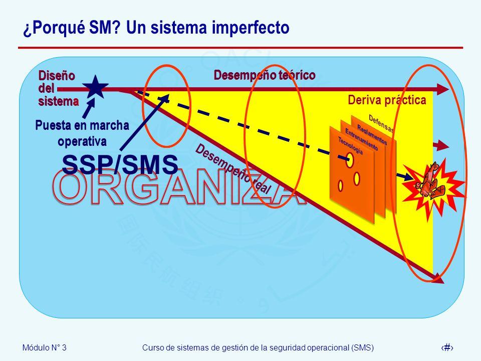 Módulo N° 3Curso de sistemas de gestión de la seguridad operacional (SMS) 16 ¿Porqué SM? Un sistema imperfecto Desempeño teórico Desempeño real Deriva