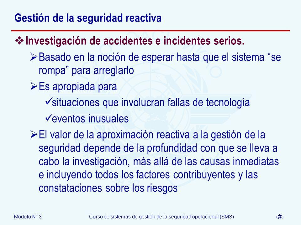 Módulo N° 3Curso de sistemas de gestión de la seguridad operacional (SMS) 19 Gestión de la seguridad reactiva Investigación de accidentes e incidentes