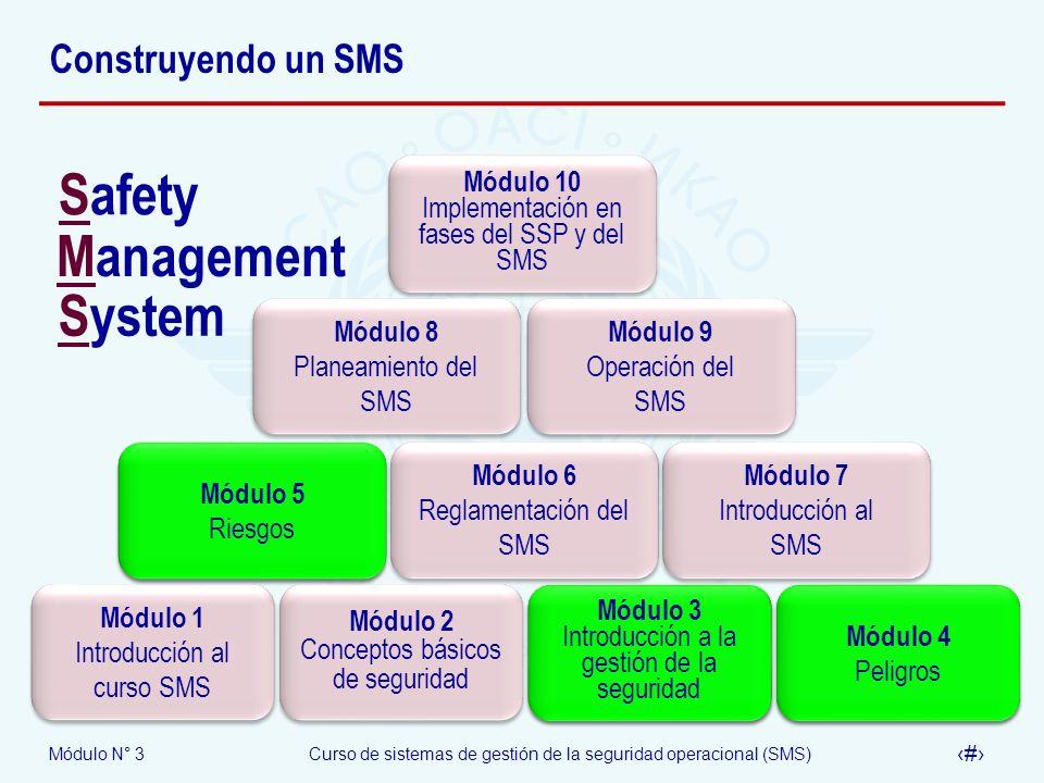 Módulo N° 3Curso de sistemas de gestión de la seguridad operacional (SMS) 2 Construyendo un SMS Módulo 1 Introducción al curso SMS Módulo 2 Conceptos