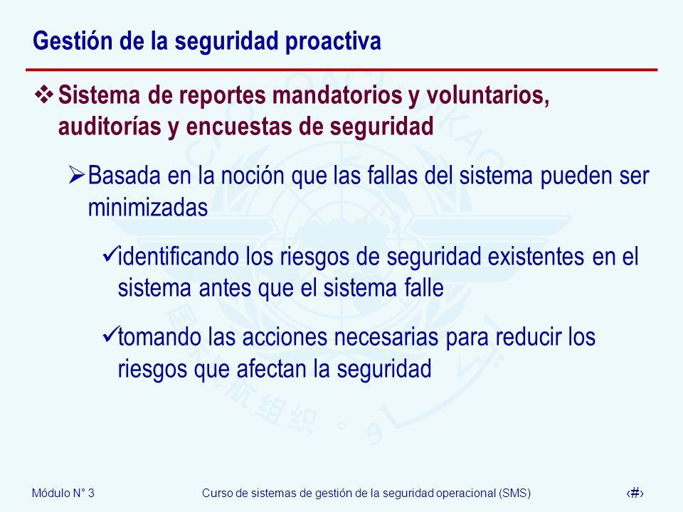 Módulo N° 3Curso de sistemas de gestión de la seguridad operacional (SMS) 20 Gestión de la seguridad proactiva Sistema de reportes mandatorios y volun