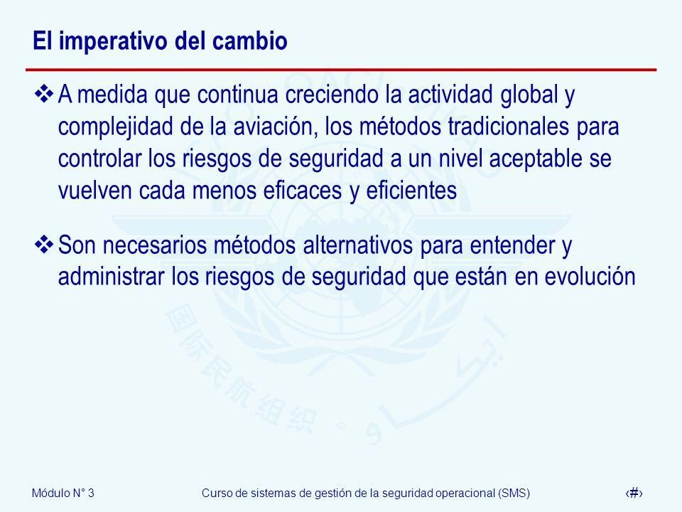Módulo N° 3Curso de sistemas de gestión de la seguridad operacional (SMS) 24 El imperativo del cambio A medida que continua creciendo la actividad glo