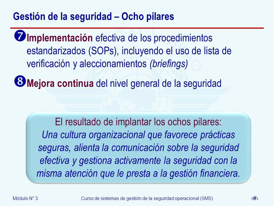 Módulo N° 3Curso de sistemas de gestión de la seguridad operacional (SMS) 28 Gestión de la seguridad – Ocho pilares Implementación efectiva de los pro