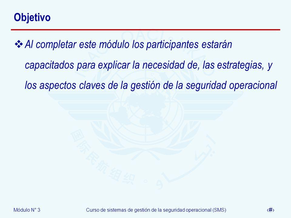 Módulo N° 3Curso de sistemas de gestión de la seguridad operacional (SMS) 3 Objetivo Al completar este módulo los participantes estarán capacitados pa