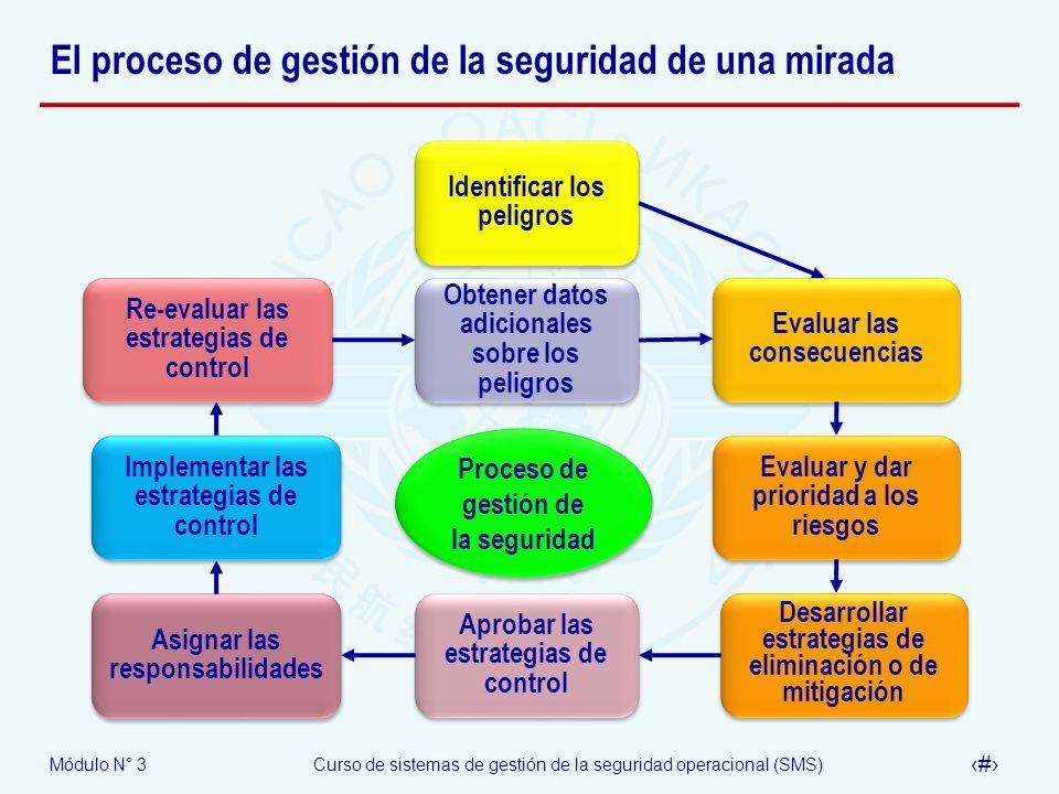 Módulo N° 3Curso de sistemas de gestión de la seguridad operacional (SMS) 30 El proceso de gestión de la seguridad de una mirada Proceso de gestión de