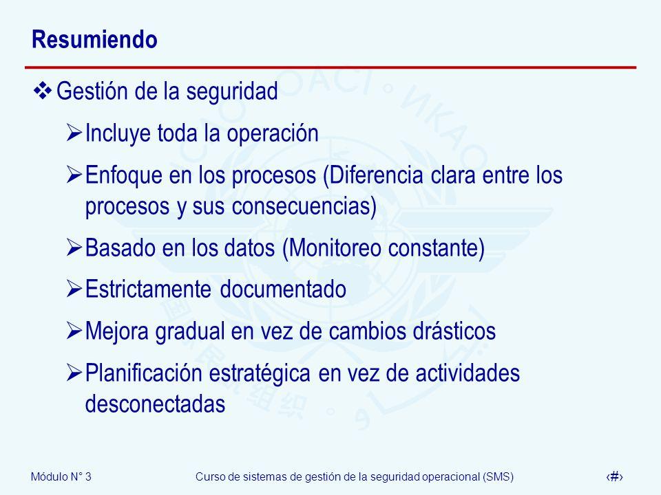 Módulo N° 3Curso de sistemas de gestión de la seguridad operacional (SMS) 32 Resumiendo Gestión de la seguridad Incluye toda la operación Enfoque en l
