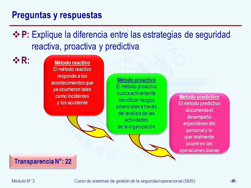 Módulo N° 3Curso de sistemas de gestión de la seguridad operacional (SMS) 36 Preguntas y respuestas P: Explique la diferencia entre las estrategias de