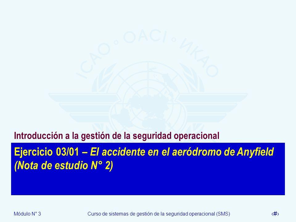 Módulo N° 3Curso de sistemas de gestión de la seguridad operacional (SMS) 41 Ejercicio 03/01 – El accidente en el aeródromo de Anyfield (Nota de estud