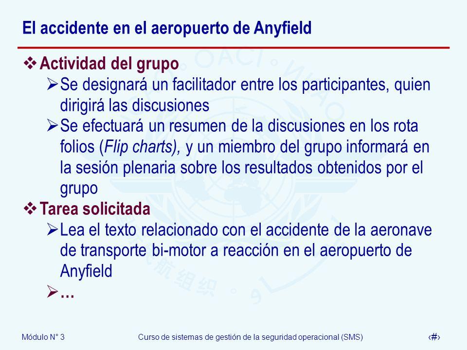Módulo N° 3Curso de sistemas de gestión de la seguridad operacional (SMS) 43 El accidente en el aeropuerto de Anyfield Actividad del grupo Se designar