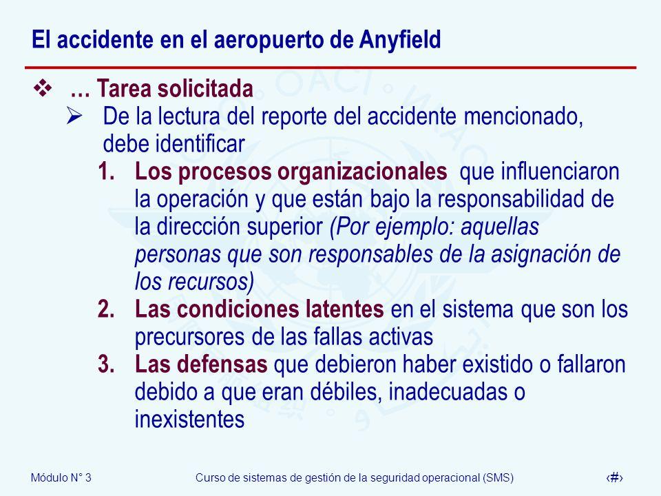 Módulo N° 3Curso de sistemas de gestión de la seguridad operacional (SMS) 44 El accidente en el aeropuerto de Anyfield … Tarea solicitada De la lectur