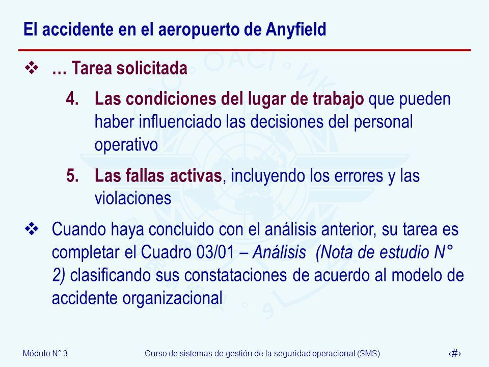 Módulo N° 3Curso de sistemas de gestión de la seguridad operacional (SMS) 45 El accidente en el aeropuerto de Anyfield … Tarea solicitada 4. Las condi