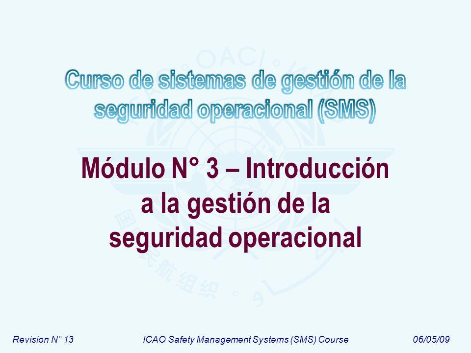 Revision N° 13ICAO Safety Management Systems (SMS) Course06/05/09 Módulo N° 3 – Introducción a la gestión de la seguridad operacional
