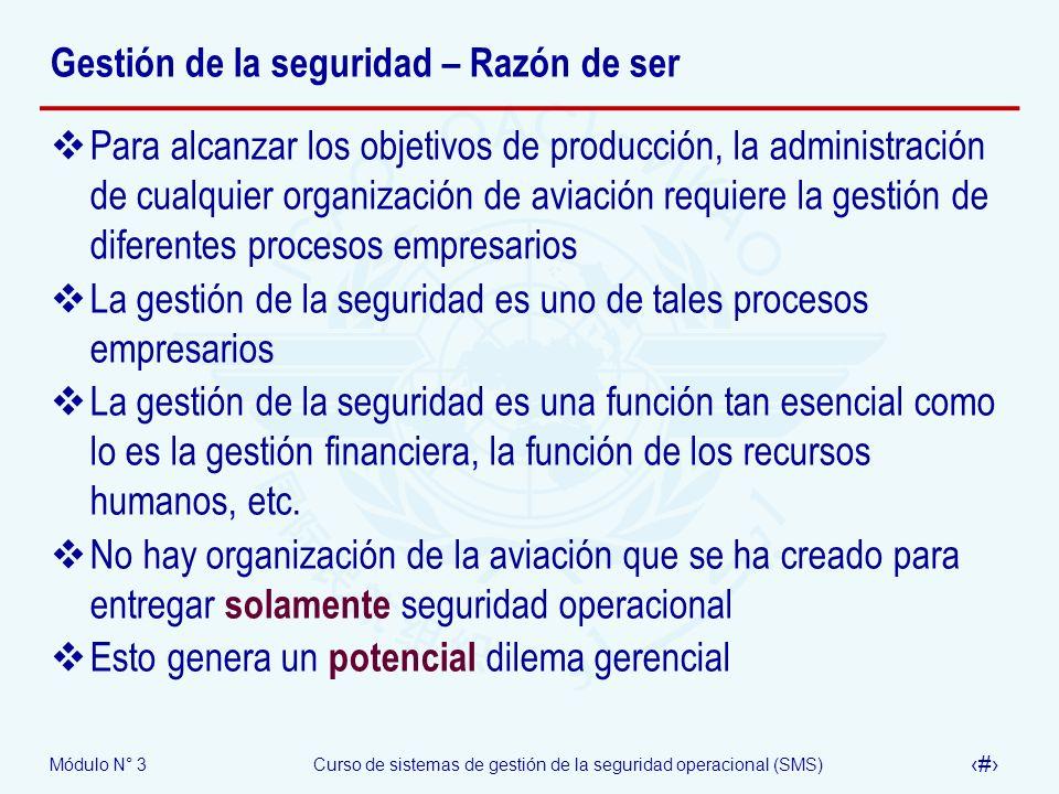 Módulo N° 3Curso de sistemas de gestión de la seguridad operacional (SMS) 9 Gestión de la seguridad – Razón de ser Para alcanzar los objetivos de prod