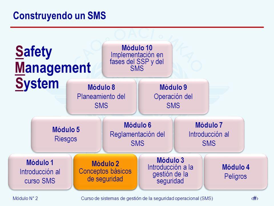 Módulo N° 2Curso de sistemas de gestión de la seguridad operacional (SMS) 53 Investigación … Pero Actualizar la legislación aeronáutica Reforzar la reglamentación actual como medida transitoria Mejorar el sistema de investigación de accidentes y los procesos de inspección de aeronaves y aerovías
