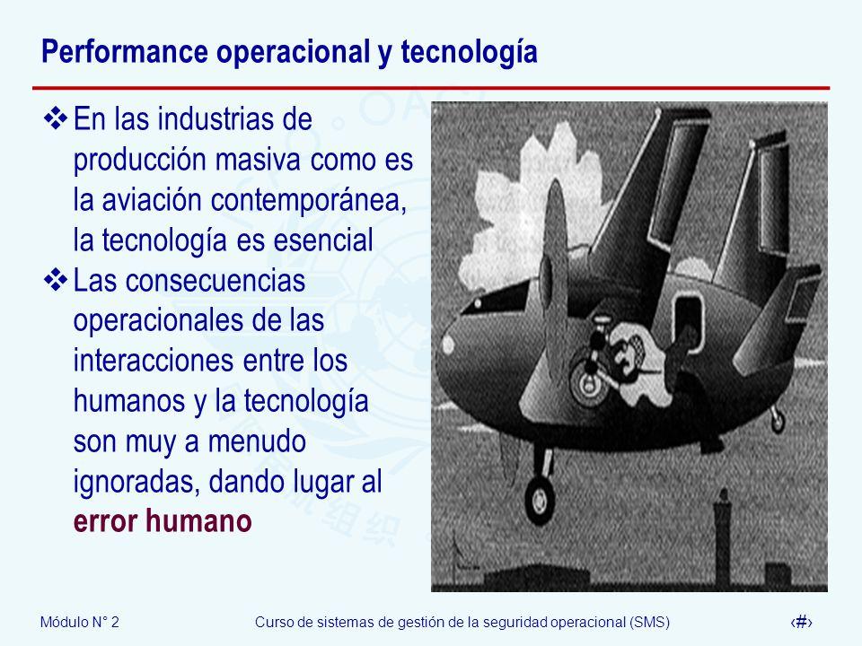 Módulo N° 2Curso de sistemas de gestión de la seguridad operacional (SMS) 21 Performance operacional y tecnología En las industrias de producción masi