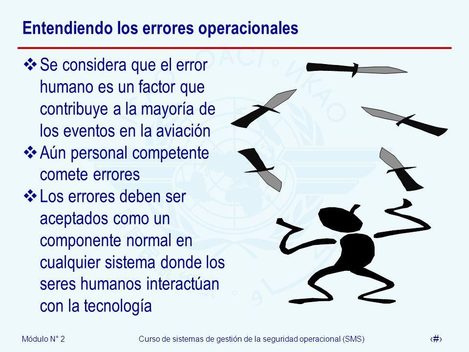 Módulo N° 2Curso de sistemas de gestión de la seguridad operacional (SMS) 22 Entendiendo los errores operacionales Se considera que el error humano es