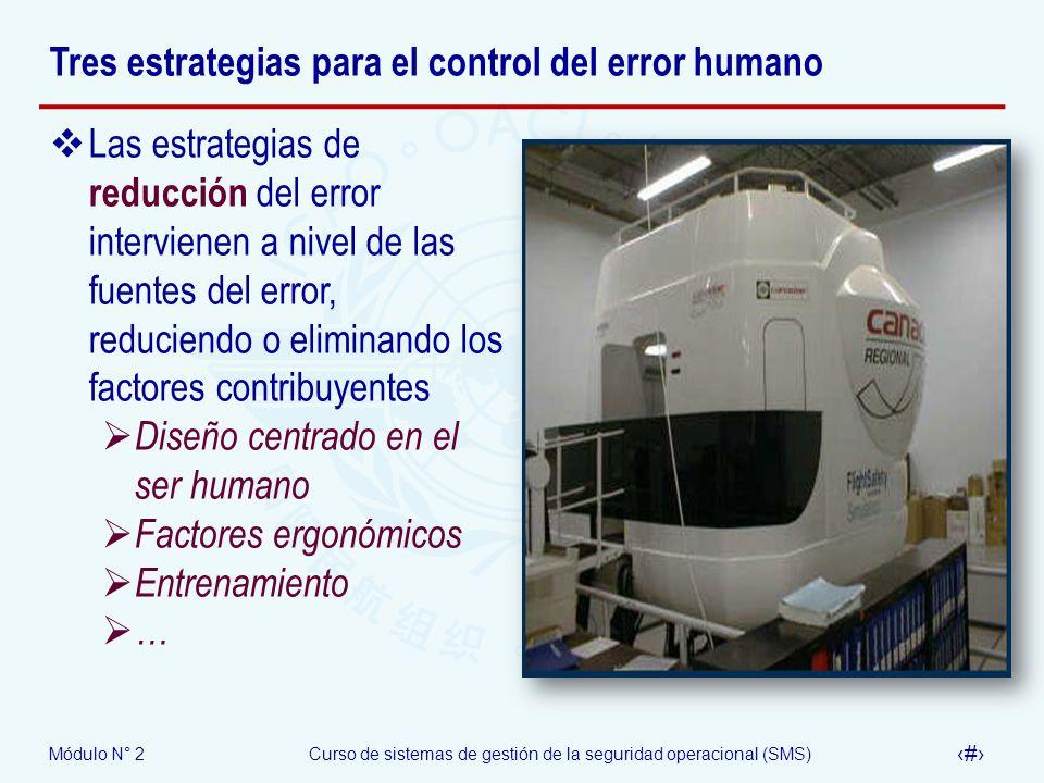 Módulo N° 2Curso de sistemas de gestión de la seguridad operacional (SMS) 26 Tres estrategias para el control del error humano Las estrategias de redu