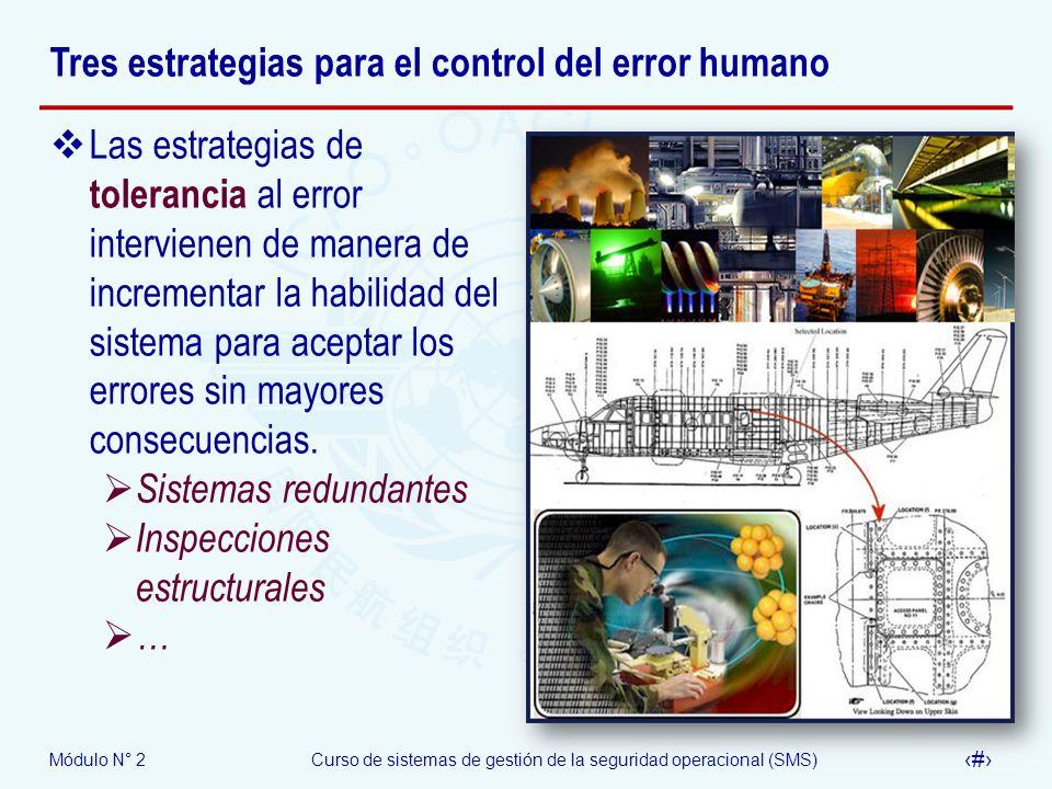 Módulo N° 2Curso de sistemas de gestión de la seguridad operacional (SMS) 28 Tres estrategias para el control del error humano Las estrategias de tole
