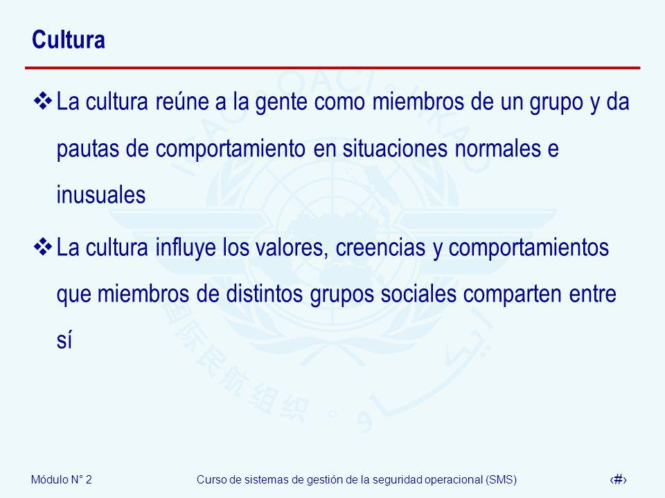 Módulo N° 2Curso de sistemas de gestión de la seguridad operacional (SMS) 30 Cultura La cultura reúne a la gente como miembros de un grupo y da pautas