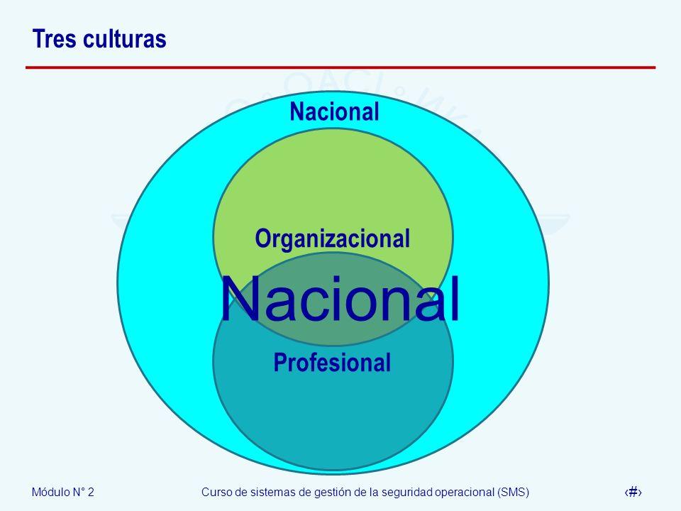 Módulo N° 2Curso de sistemas de gestión de la seguridad operacional (SMS) 31 Tres culturas Nacional Organizacional Profesional Nacional