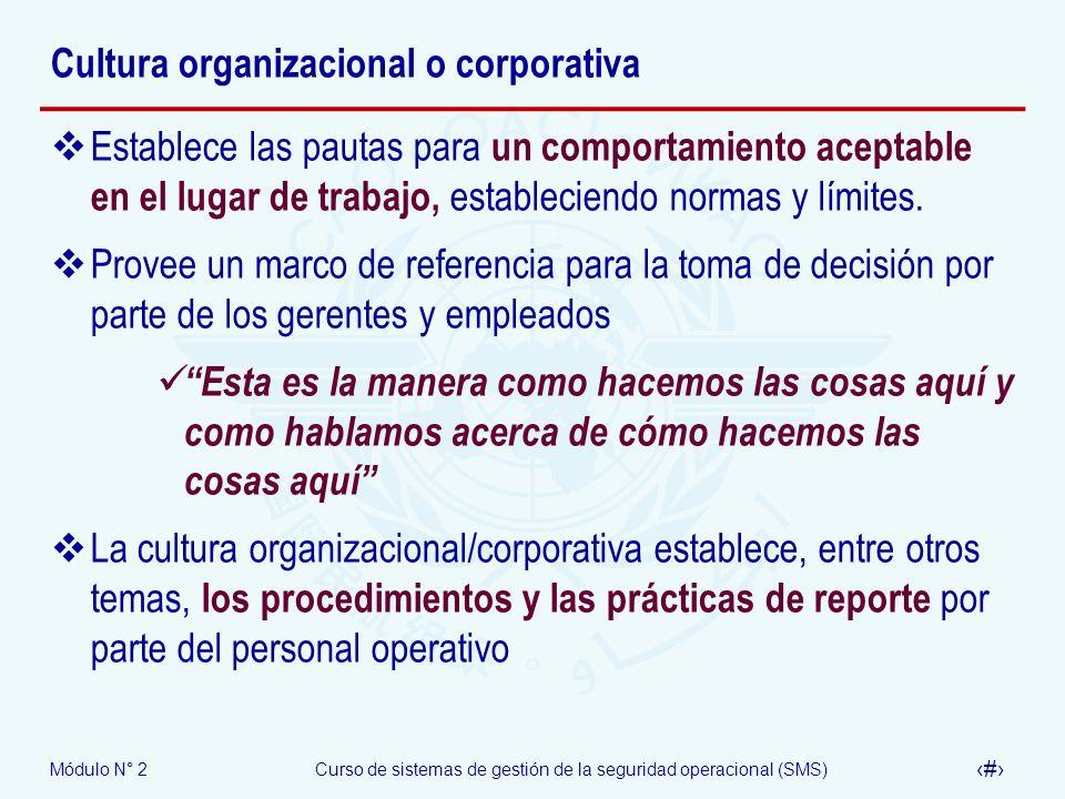 Módulo N° 2Curso de sistemas de gestión de la seguridad operacional (SMS) 33 Cultura organizacional o corporativa Establece las pautas para un comport