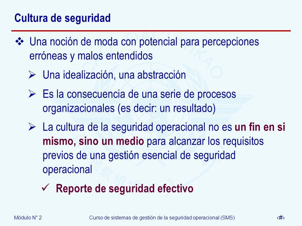 Módulo N° 2Curso de sistemas de gestión de la seguridad operacional (SMS) 34 Cultura de seguridad Una noción de moda con potencial para percepciones e