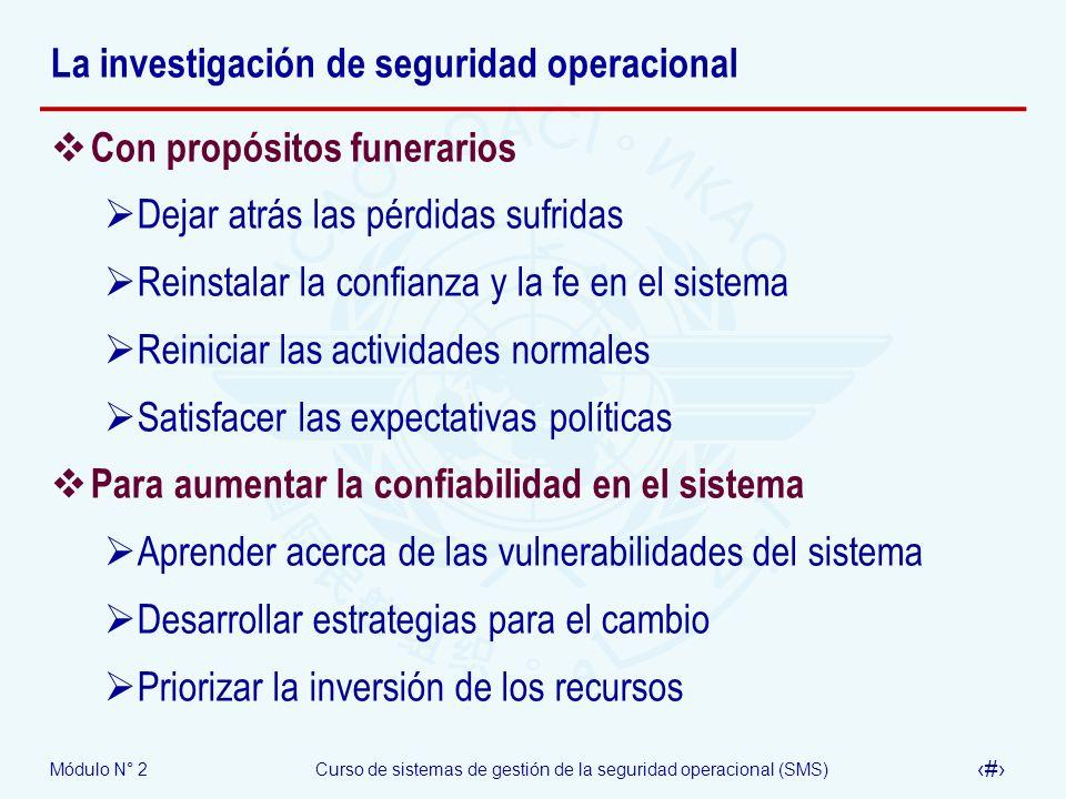 Módulo N° 2Curso de sistemas de gestión de la seguridad operacional (SMS) 38 La investigación de seguridad operacional Con propósitos funerarios Dejar