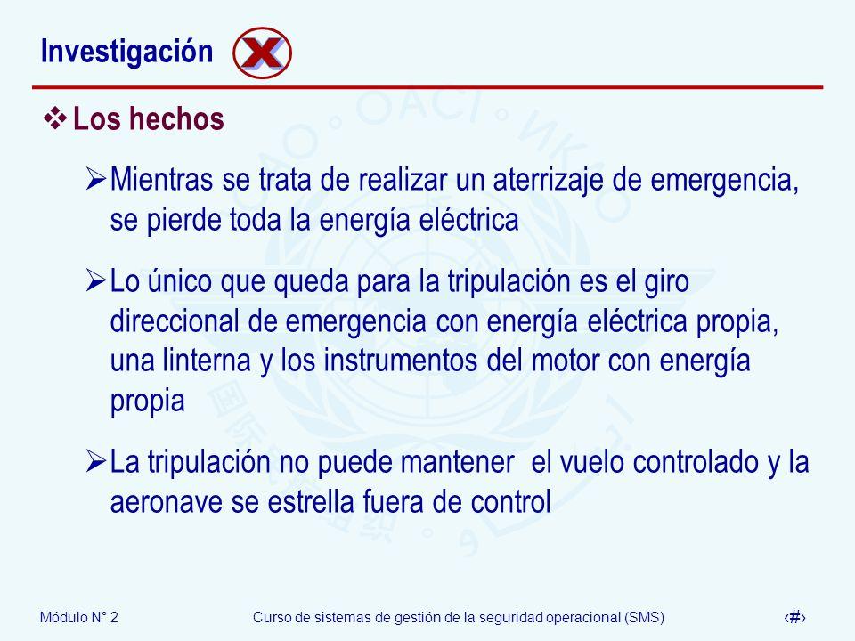 Módulo N° 2Curso de sistemas de gestión de la seguridad operacional (SMS) 40 Investigación Los hechos Mientras se trata de realizar un aterrizaje de e