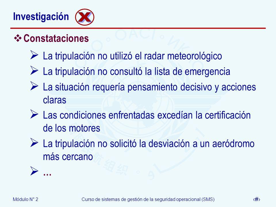Módulo N° 2Curso de sistemas de gestión de la seguridad operacional (SMS) 41 Investigación Constataciones La tripulación no utilizó el radar meteoroló