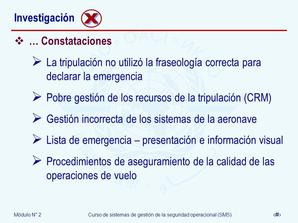 Módulo N° 2Curso de sistemas de gestión de la seguridad operacional (SMS) 42 Investigación … Constataciones La tripulación no utilizó la fraseología c