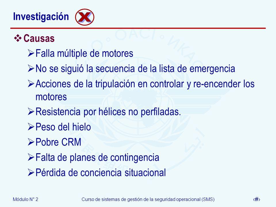 Módulo N° 2Curso de sistemas de gestión de la seguridad operacional (SMS) 43 Investigación Causas Falla múltiple de motores No se siguió la secuencia