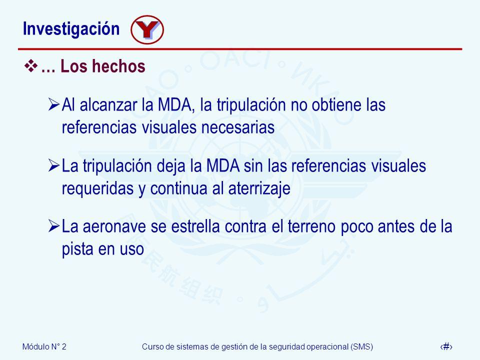 Módulo N° 2Curso de sistemas de gestión de la seguridad operacional (SMS) 46 Investigación … Los hechos Al alcanzar la MDA, la tripulación no obtiene
