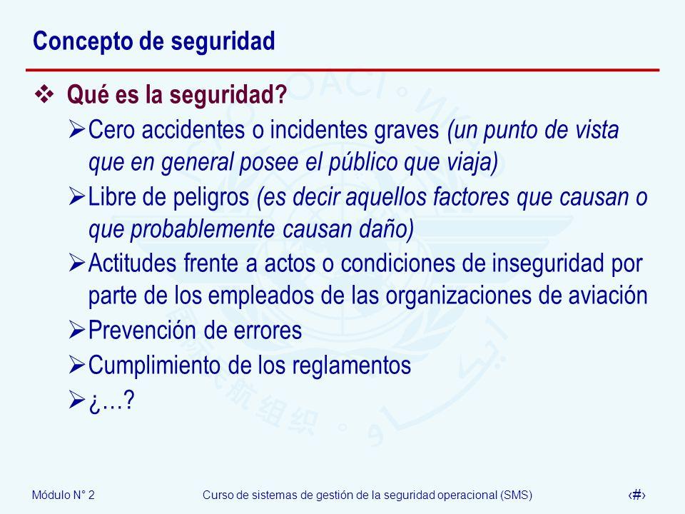 Módulo N° 2Curso de sistemas de gestión de la seguridad operacional (SMS) 5 Concepto de seguridad Qué es la seguridad? Cero accidentes o incidentes gr
