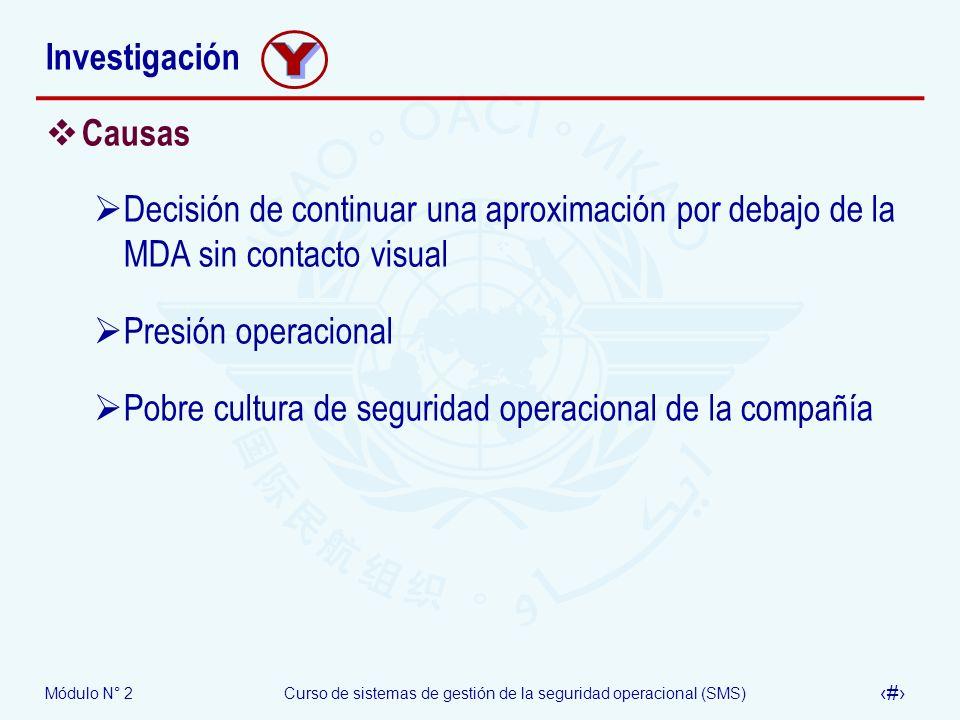 Módulo N° 2Curso de sistemas de gestión de la seguridad operacional (SMS) 51 Investigación Causas Decisión de continuar una aproximación por debajo de