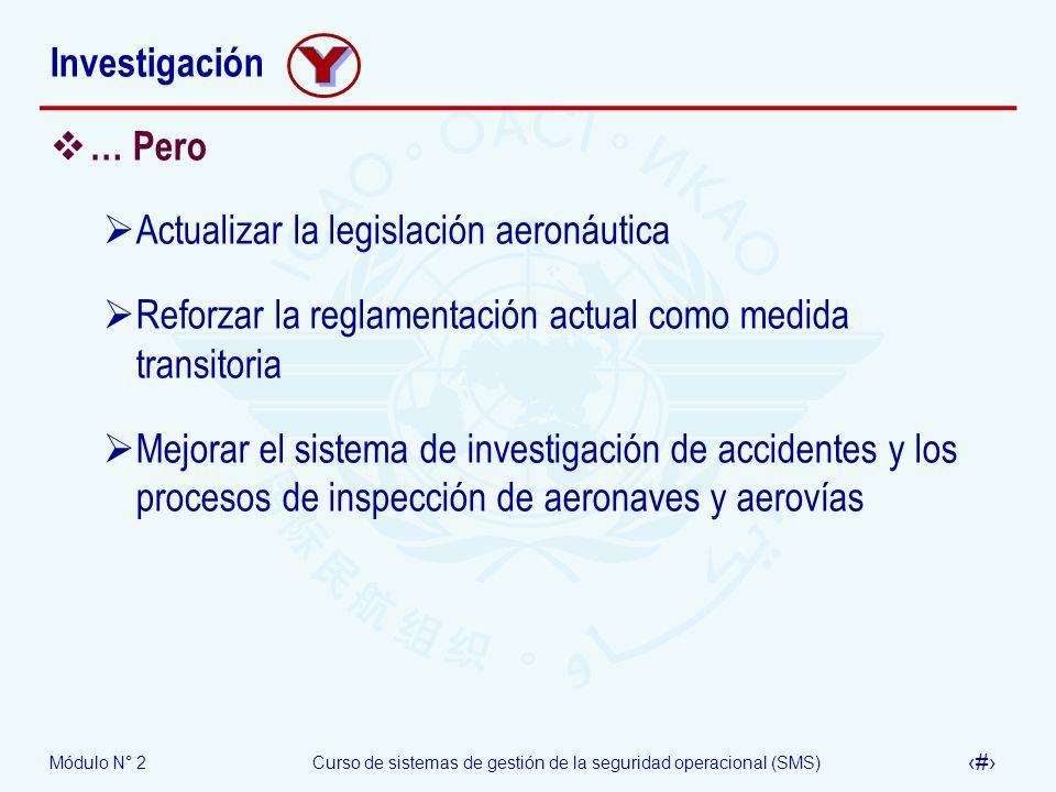 Módulo N° 2Curso de sistemas de gestión de la seguridad operacional (SMS) 53 Investigación … Pero Actualizar la legislación aeronáutica Reforzar la re