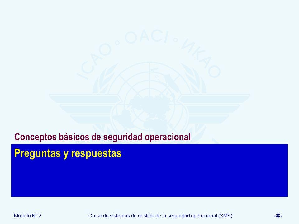 Módulo N° 2Curso de sistemas de gestión de la seguridad operacional (SMS) 56 Preguntas y respuestas Conceptos básicos de seguridad operacional