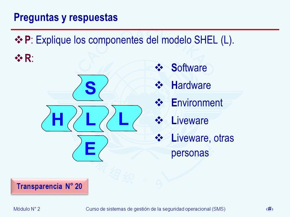 Módulo N° 2Curso de sistemas de gestión de la seguridad operacional (SMS) 59 Preguntas y respuestas P : Explique los componentes del modelo SHEL (L).