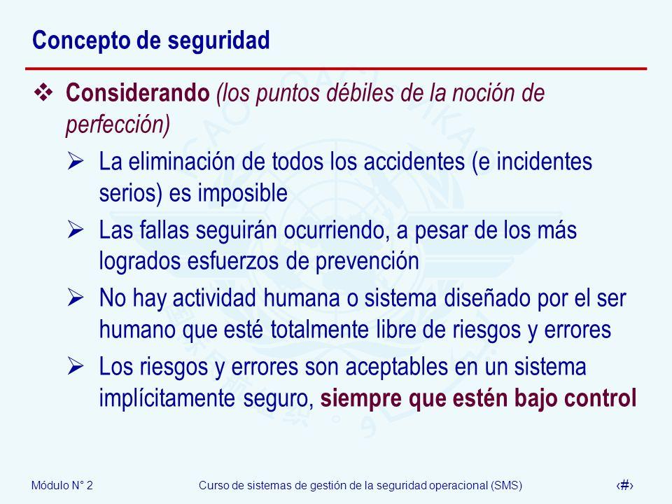 Módulo N° 2Curso de sistemas de gestión de la seguridad operacional (SMS) 6 Concepto de seguridad Considerando (los puntos débiles de la noción de per