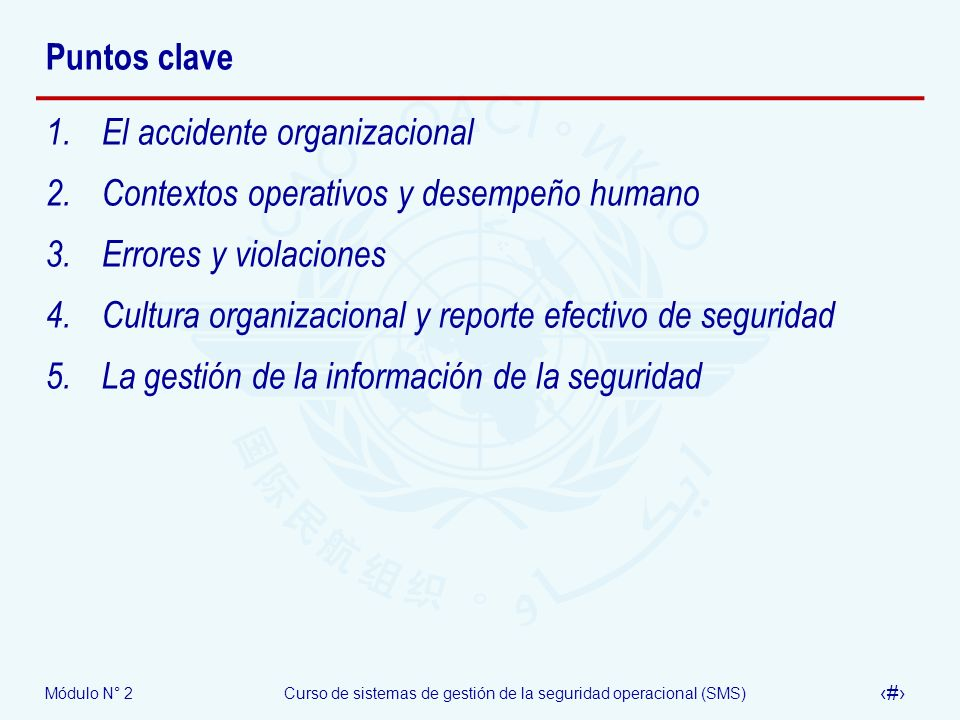 Módulo N° 2Curso de sistemas de gestión de la seguridad operacional (SMS) 62 Puntos clave 1.El accidente organizacional 2.Contextos operativos y desem