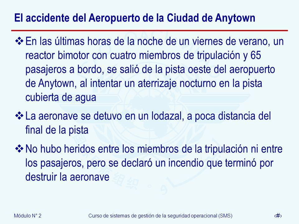 Módulo N° 2Curso de sistemas de gestión de la seguridad operacional (SMS) 64 El accidente del Aeropuerto de la Ciudad de Anytown En las últimas horas