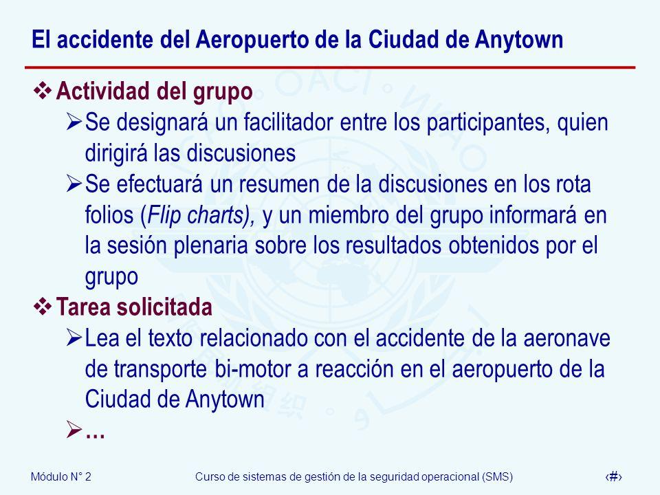 Módulo N° 2Curso de sistemas de gestión de la seguridad operacional (SMS) 65 El accidente del Aeropuerto de la Ciudad de Anytown Actividad del grupo S