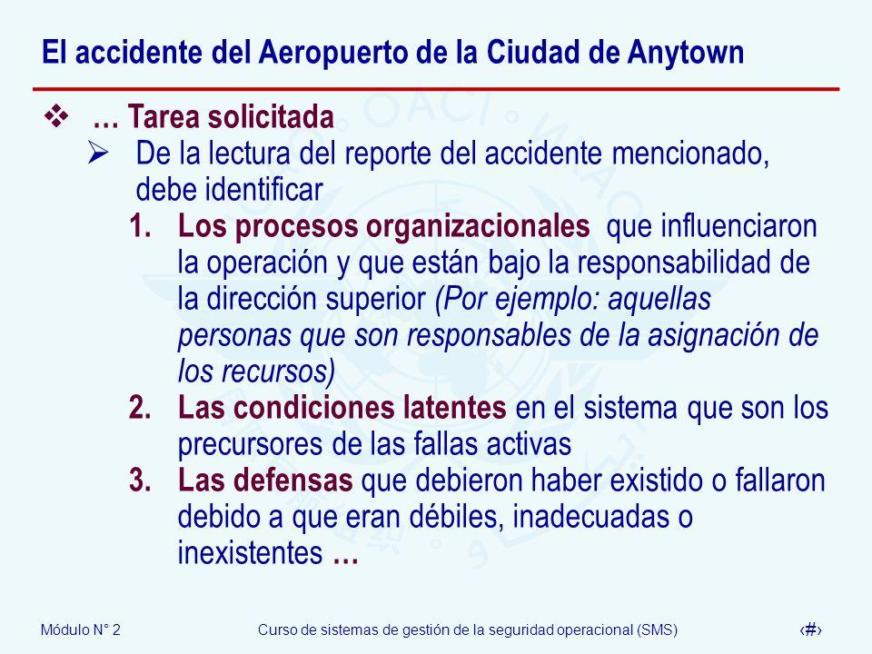 Módulo N° 2Curso de sistemas de gestión de la seguridad operacional (SMS) 66 El accidente del Aeropuerto de la Ciudad de Anytown … Tarea solicitada De