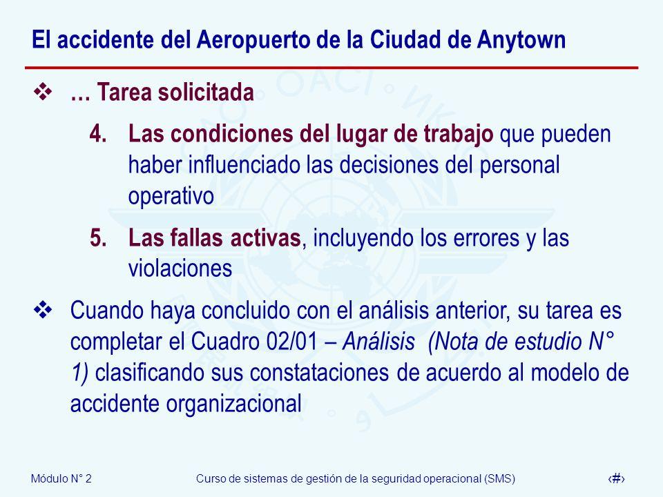 Módulo N° 2Curso de sistemas de gestión de la seguridad operacional (SMS) 67 El accidente del Aeropuerto de la Ciudad de Anytown … Tarea solicitada 4.
