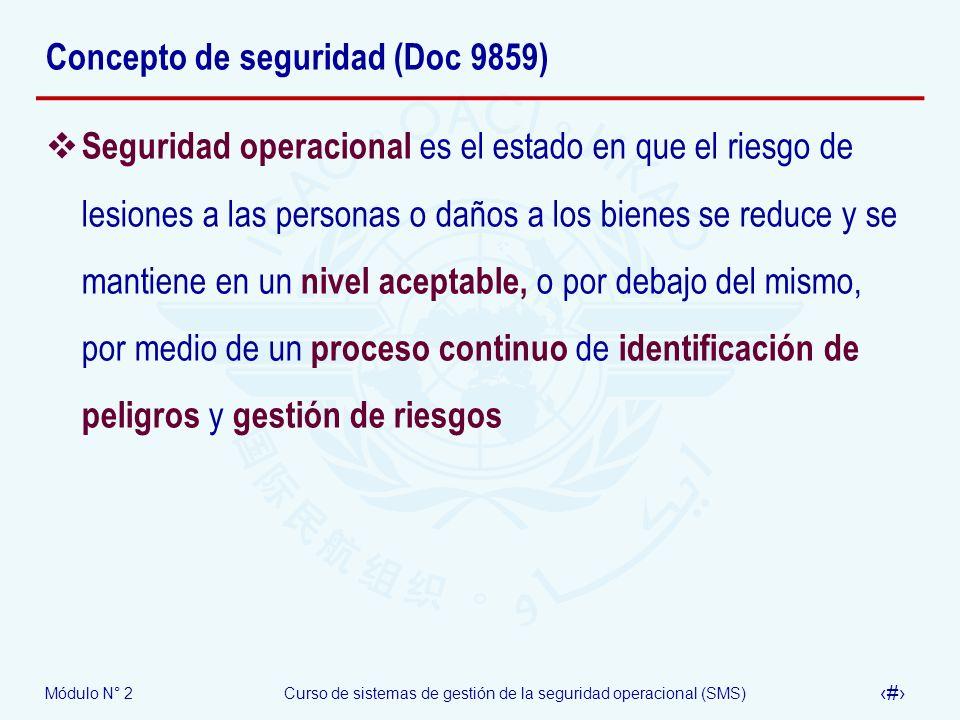 Módulo N° 2Curso de sistemas de gestión de la seguridad operacional (SMS) 7 Concepto de seguridad (Doc 9859) Seguridad operacional es el estado en que