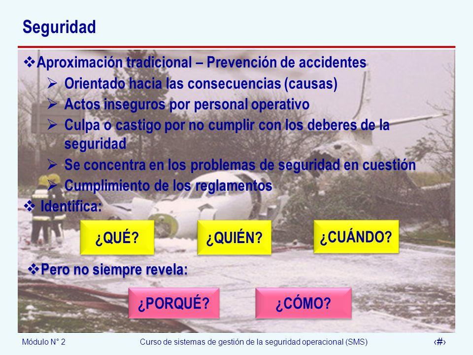 Módulo N° 2Curso de sistemas de gestión de la seguridad operacional (SMS) 8 Seguridad Aproximación tradicional – Prevención de accidentes Orientado ha
