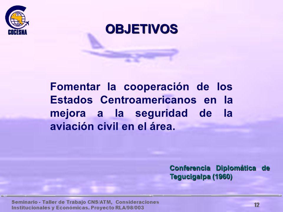 Seminario - Taller de Trabajo CNS/ATM, Consideraciones Institucionales y Económicas. Proyecto RLA/98/003 11 OBJETIVOS