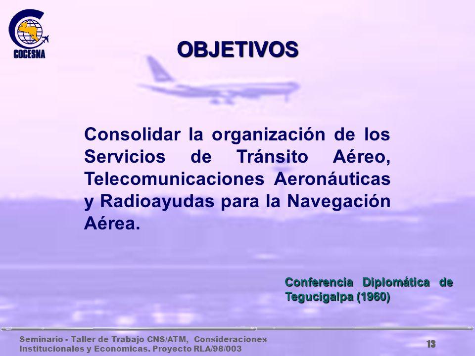 Seminario - Taller de Trabajo CNS/ATM, Consideraciones Institucionales y Económicas. Proyecto RLA/98/003 12 Fomentar la cooperación de los Estados Cen