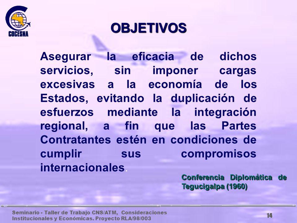 Seminario - Taller de Trabajo CNS/ATM, Consideraciones Institucionales y Económicas. Proyecto RLA/98/003 13 Consolidar la organización de los Servicio