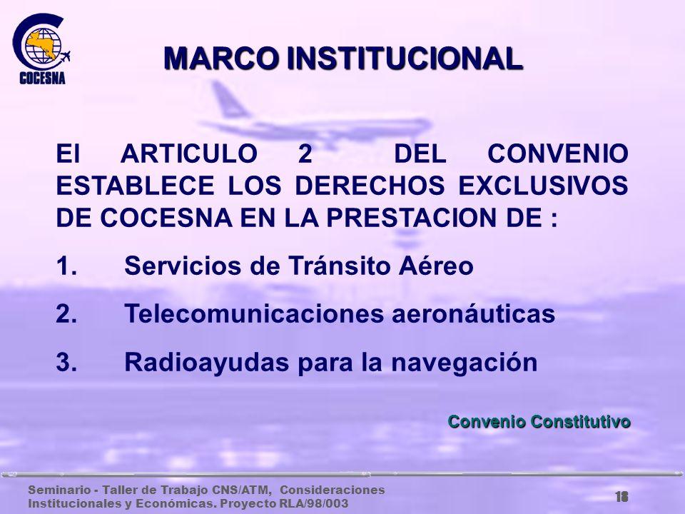 Seminario - Taller de Trabajo CNS/ATM, Consideraciones Institucionales y Económicas. Proyecto RLA/98/003 17 El artículo 1, define a COCESNA como ORGAN